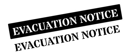 fled: Evacuation notice black rubber stamp on white. Print, impress, overprint. Illustration
