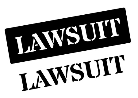 prosecute: Lawsuit black rubber stamp on white. Print, impress, overprint.