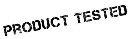Producto Probado sello de caucho negro en blanco. Imprimir, impresionar, sobreimpresión.