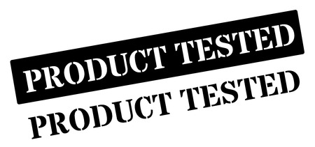 Product Tested black rubber stamp on white. Print, impress, overprint.