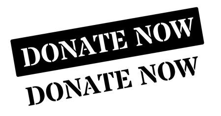 voluntary: Donate now black rubber stamp on white. Print, impress, overprint. Illustration