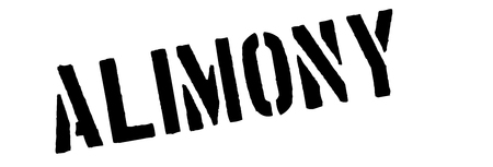 marital: Alimony black rubber stamp on white. Print, impress, overprint.