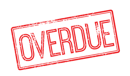 overdue: Overdue red rubber stamp on white. Print, impress, overprint.