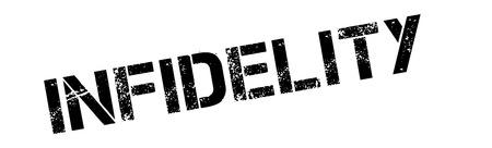 Infidelity black rubber stamp on white. Print, impress, overprint.