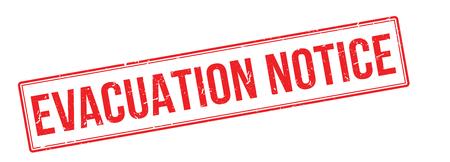 evacuation: aviso de evacuaci�n sello de goma roja sobre fondo blanco. Imprimir, impresionar, sobreimpresi�n. Vectores