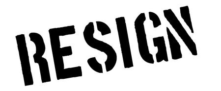renounce: Resign black rubber stamp on white. Print, impress, overprint. Illustration