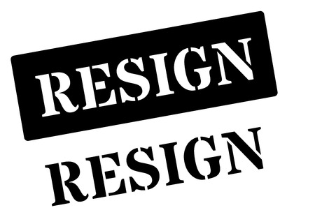 withdraw: Resign black rubber stamp on white. Print, impress, overprint. Illustration