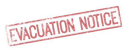 expulsion: Evacuation notice red rubber stamp on white. Print, impress, overprint. Illustration