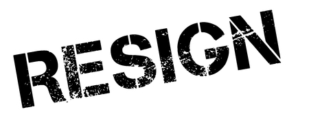 resign: Resign black rubber stamp on white. Print, impress, overprint. Illustration