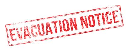 evacuacion: aviso de evacuación sello de goma roja sobre fondo blanco. Imprimir, impresionar, sobreimpresión. Vectores