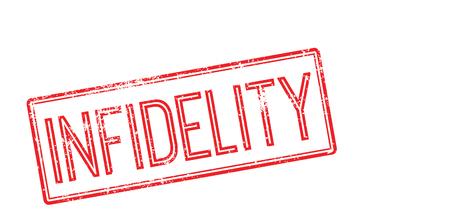 Infidelity red rubber stamp on white. Print, impress, overprint.