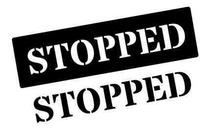 stoppage: Stopped black rubber stamp on white. Print, impress, overprint. Illustration