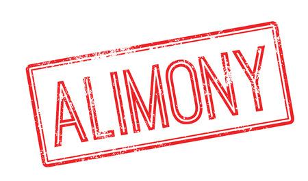 marital: Alimony red rubber stamp on white. Print, impress, overprint. Illustration