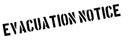expulsion: Evacuation notice black rubber stamp on white. Print, impress, overprint. Illustration