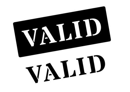 valid: Valid black rubber stamp on white. Print, impress, overprint.