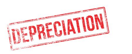 depreciation: Depreciation red rubber stamp on white. Print, impress, overprint.