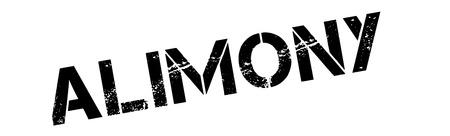 upkeep: Alimony black rubber stamp on white. Print, impress, overprint.