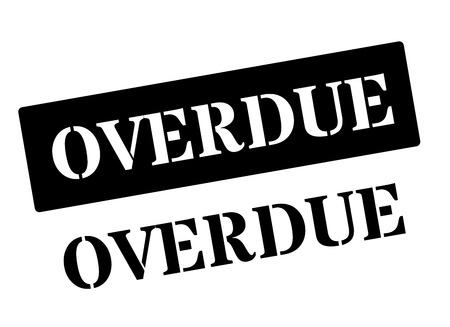 overdue: Overdue black rubber stamp on white. Print, impress, overprint. Illustration