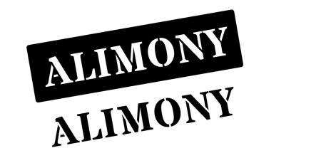 remittance: Alimony black rubber stamp on white. Print, impress, overprint.