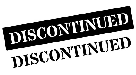 discontinued: Discontinued black stamp on white. Print, impress, overprint.