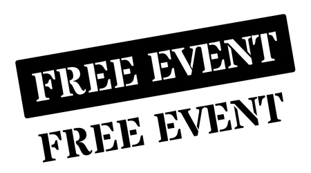 Free Event black rubber stamp on white. Print, impress, overprint.