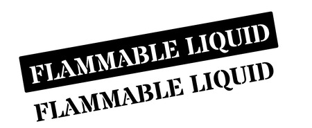unsafe: Flammable liquid black rubber stamp on white. Print, impress, overprint.