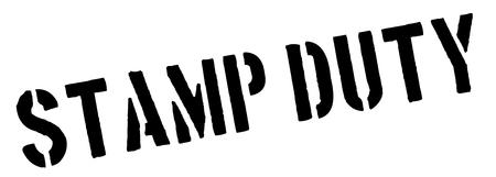 land owner: Stamp Duty black rubber stamp on white. Print, impress, overprint. Illustration