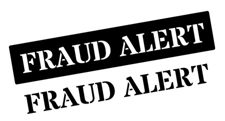id theft: Fraud Alert black rubber stamp on white. Print, impress, overprint.