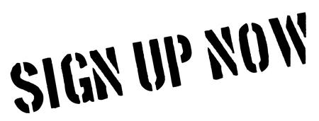 settle up: Sign Up Now black rubber stamp on white. Print, impress, overprint.