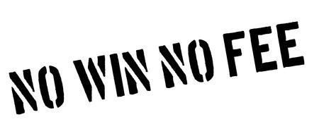 fee: No Win No Fee black rubber stamp on white. Print, impress, overprint.