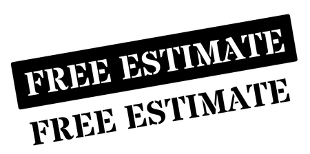 estimate: Free Estimate black rubber stamp on white. Print, impress, overprint.