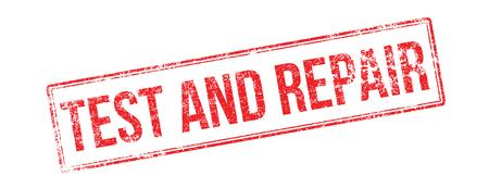 テストおよび修理赤ゴム製スタンプ白。印刷、感動、オーバープリントします。