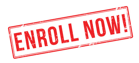 enlist: Enroll Now! Red rubber stamp on white. Print, impress, overprint. Illustration