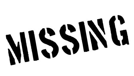kidnapped: Missing black rubber stamp on white. Print, impress, overprint.