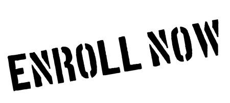 complimentary: Enroll Now! Black rubber stamp on white. Print, impress, overprint.