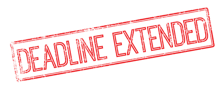 Deadline Extended red rubber stamp on white. Print, impress, overprint.