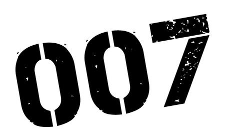 Zero zero seven black rubber stamp on white. Print, impress, overprint. Illustration