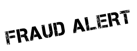 extortion: Fraud Alert black rubber stamp on white. Print, impress, overprint.