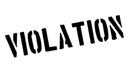 violate: Violation black rubber stamp on white. Print, impress, overprint.