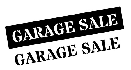 inexpensive: Garage Sale black rubber stamp on white. Print, impress, overprint.