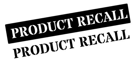 financially: Product recall black rubber stamp on white. Print, impress, overprint. Illustration
