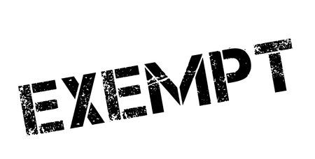 obligated: Exempt black rubber stamp on white. Print, impress, overprint. Illustration
