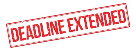 extended: Deadline Extended red rubber stamp on white. Print, impress, overprint.