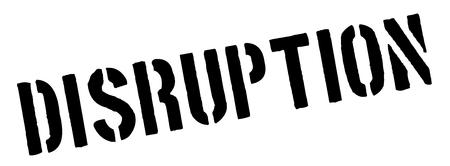 interruption: Disruption black rubber stamp on white. Print, impress, overprint.