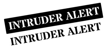 intruder: Intruder Alert black stamp on white. Print, impress, overprint.