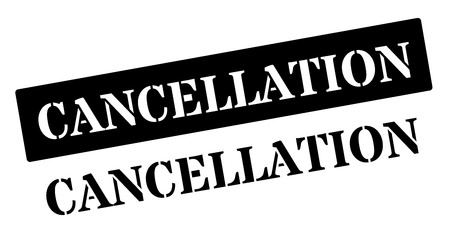 dissolution: Cancellation black rubber stamp on white. Print, impress, overprint. Illustration
