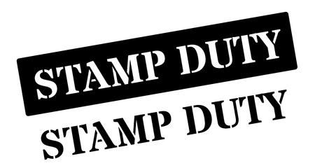 Stamp Duty black rubber stamp on white. Print, impress, overprint. Illustration