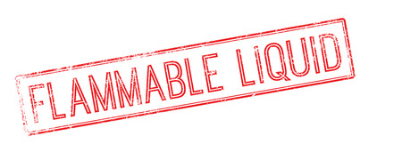 burnable: Flammable liquid red rubber stamp on white. Print, impress, overprint.