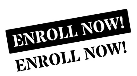 enlist: Enroll Now! Black rubber stamp on white. Print, impress, overprint.