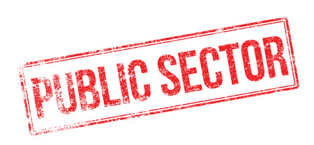 tertiary: Public Sector red rubber stamp on white. Print, impress, overprint. Illustration